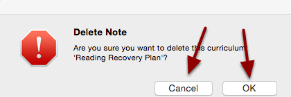 Confirm or Cancel that you would like to delete the Note or Alert