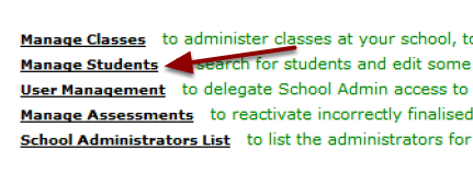 Then Click on Manage Students