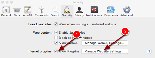 "Step 3: Make sure Allow Plug-ins is ticked and then select ""Manage Website Settings..."""