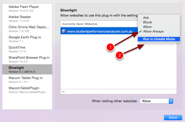 "Step 5: Select the dropdown list next to the SPA website on the right and select ""Allow Always"" & ""Run in Unsafe Mode"""