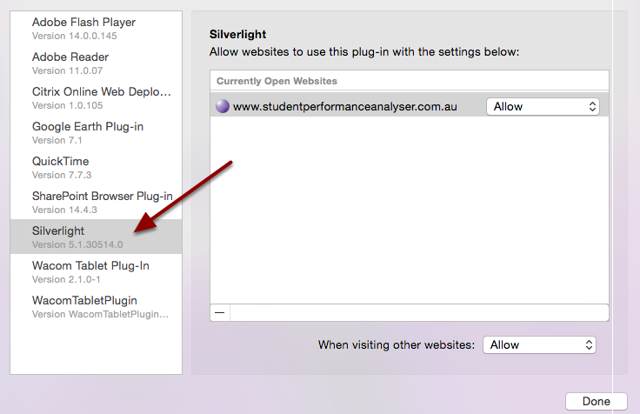Step 4: Click on Silverlight from the left hand menu.