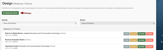 Step 3: Click on Create New Rubric