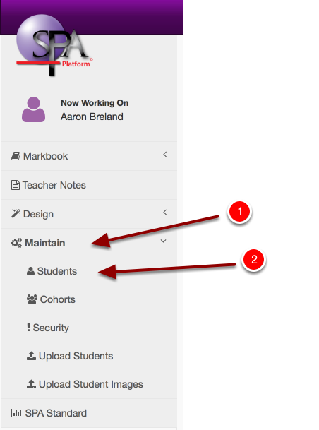 "Step 2: Navigate to ""Maintain"" then Click ""Students"" in the menu"