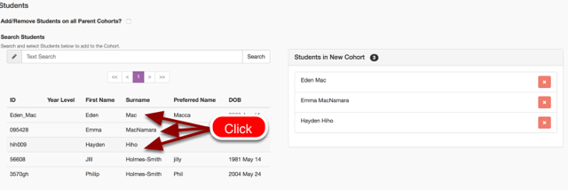 Step 5: Click on the student you would like to add to the cohort. They will be added to the cohort list on the right