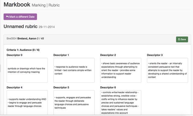 Marking an Individual Student's Rubric: