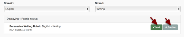 Step 5: Select to either see a preview or mark the Rubric