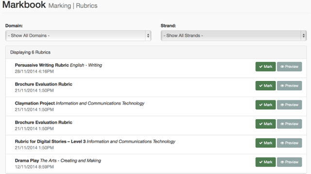 Step 4: Find the Rubric you would like to mark