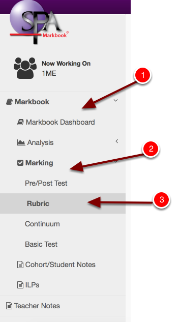 Step 3: Navigate to the mark Rubric option in the main menu