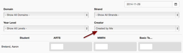 By default you will first see a list of all the results you have created across all Domains, Strands and Year Levels