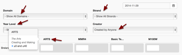 Filter down to the Domain, Strand, Year Level and Creator to further refine the tests that are displayed to be marked
