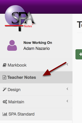 Step 1: Navigate to Teacher Notes in the Main Menu