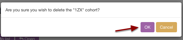 Step 4: Confirm you would like to delete this cohort