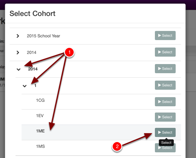 Navigate to the cohort you would like to work with by filtering down to that cohort