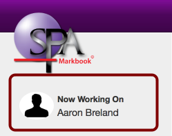 I can see i am working on Aaron from the now working on confirmation window in the top left of the menu