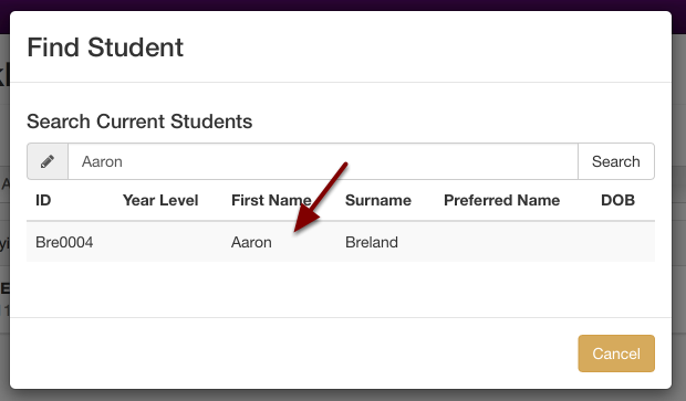 Once you have found the student, click on their name to select them