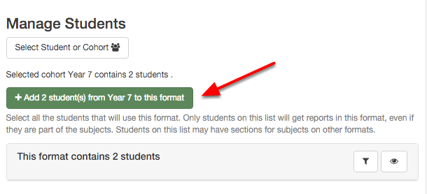 "Finally click the ""add student(s) from ""...."" to this format button"