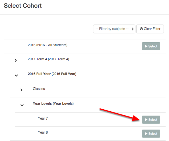 Using the Cohort select or find the cohort of students you would like to include in the report and click Select