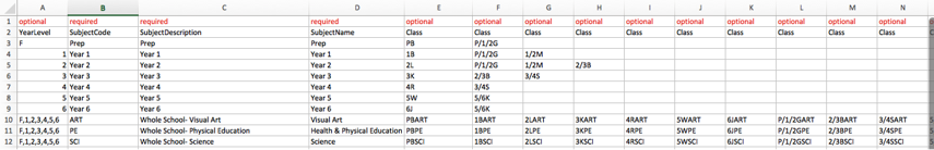 Assign and input classes to those subjects