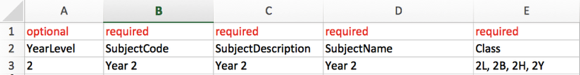 Option 2: Adding one subject to a row with one column of classes separated by a comma
