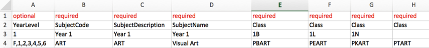 Option 1: Adding one subject to a row with multiple class columns.