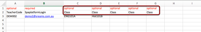 Option 2: Adding one user to a row with multiple class columns.