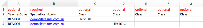 Option 1: Adding one user/teacher to multiple lines with one class per line
