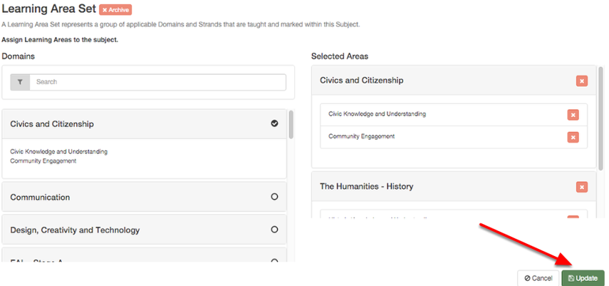 """Once you are done adding Learning Areas to the subject simply click """"update"""" to apply these changes."""