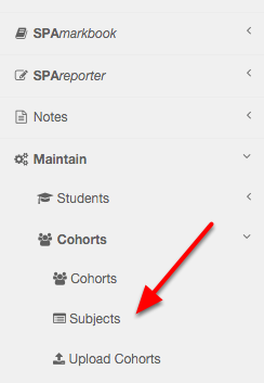 Navigate to Maintain-> Cohorts-> Subjects in the menu system.