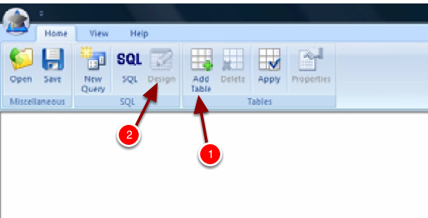 Step 3: Click Add Table ( you may have to click design mode first)