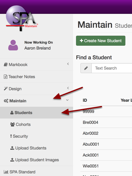 "Step 1: Navigate to ""Maintain"" then select ""Students"""