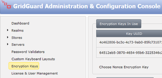 Launch Administration & Configuration Console and select the 'Encryption Keys' option