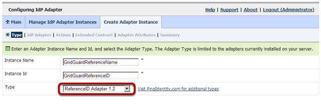 Configuring IdP Adapter: Specify Instance Name & Id