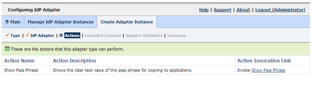 Configuring IdP Adapter: Actions