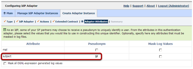 Configuring IdP Adapter: Adapter Attributes