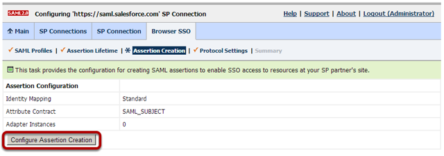 Browser SSO Configuration: Assertion Creation