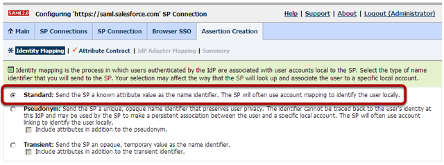 Browser SSO Configuration: Assertion Creation: Identity Mapping