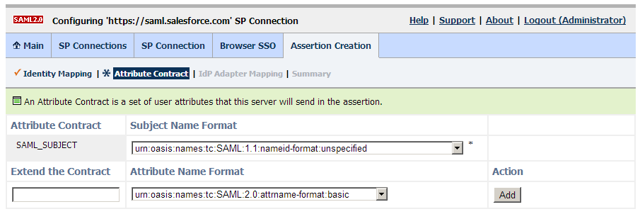 Browser SSO Configuration: Assertion Creation: Attribute Contract