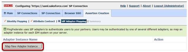 Browser SSO Configuration: Assertion Creation: IdP Adapter Mapping