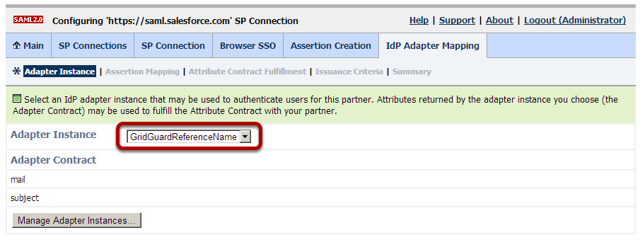 Browser SSO Configuration: Assertion Creation: IdP Adapter Mapping: Adapter Instance