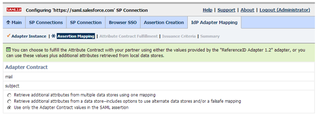Browser SSO Configuration: Assertion Creation: IdP Adapter Mapping: Assertion Mapping
