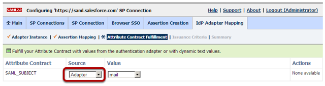 Browser SSO Configuration: Assertion Creation: IdP Adapter Mapping: Attribute Contract Fulfillment