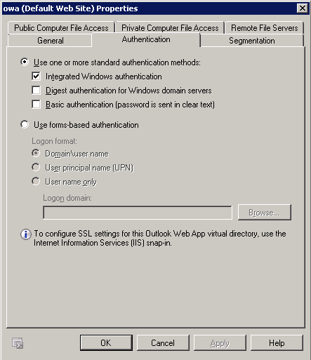 Enable Windows Integrated Authentication
