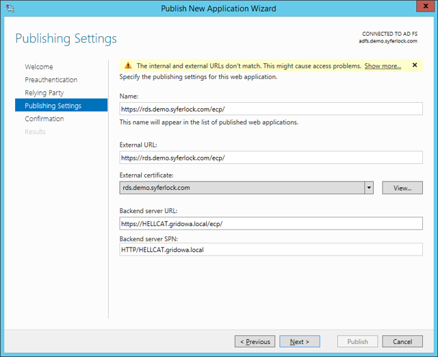 Publish New Application Wizard: Publishing Settings