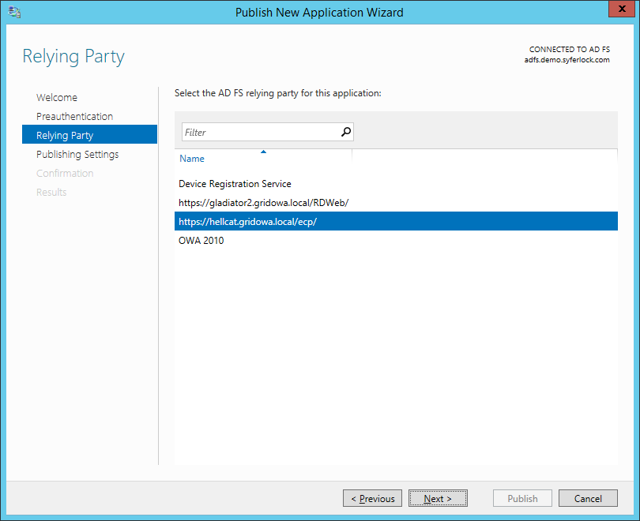 Publish New Application Wizard: Relying Party