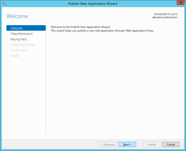 Publish New Application Wizard: Welcome