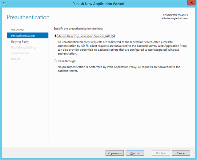 Publish New Application Wizard: Preauthentication