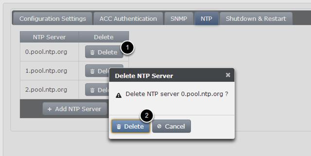 Deleting NTP Server