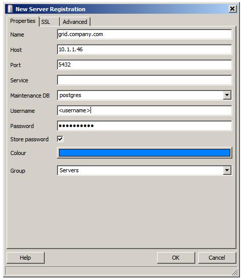 Configure pgAdmin III