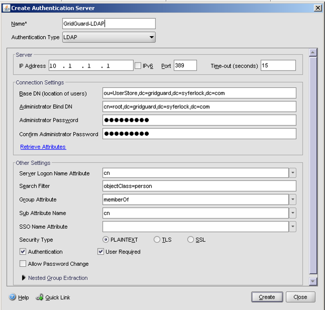 Create LDAP Authentication Server