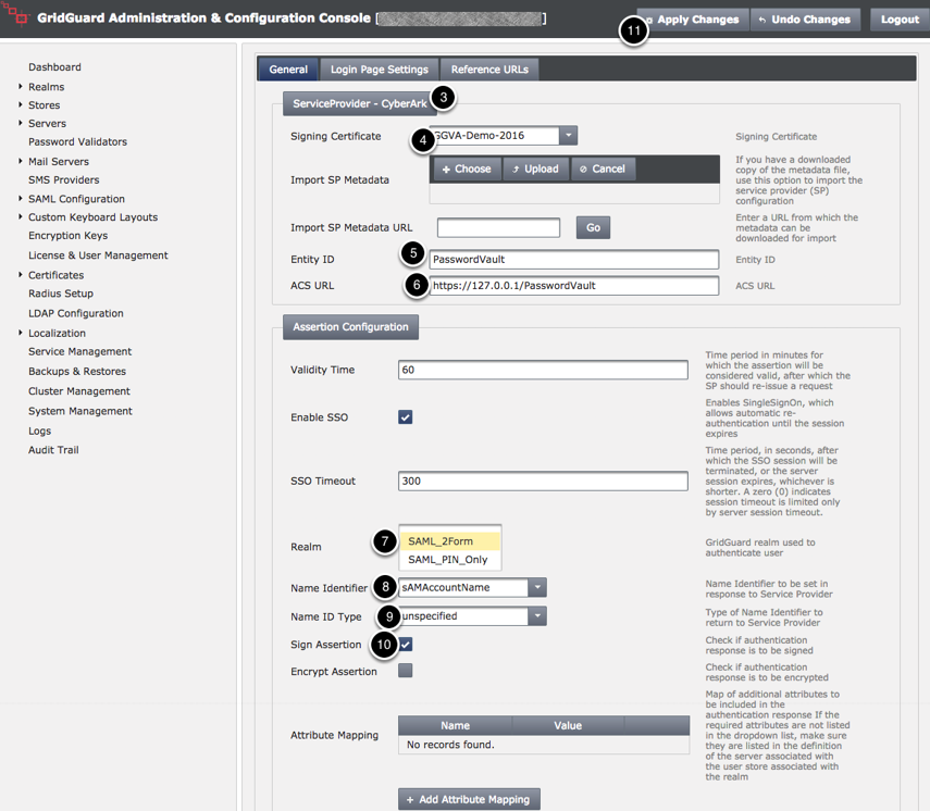 SAML Configuration - General Tab